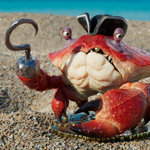 captain pirate crab 3d model character animal design