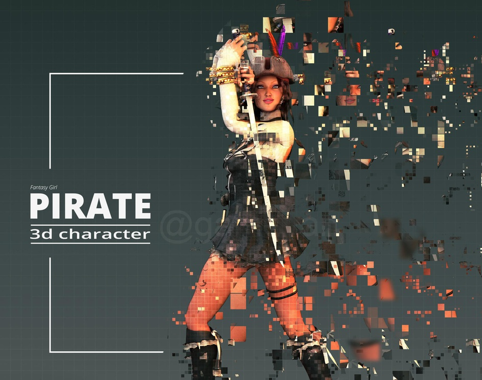 Pirate 3D Character Modeling and Rigging Animationby GameYan