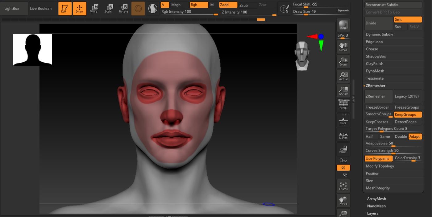 rebrushing in zbrush 3d model