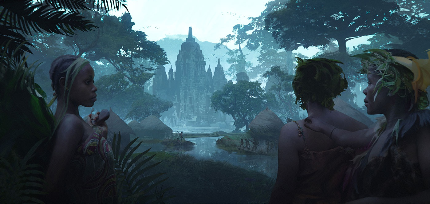 A jungle and temple setting inspired by the cultures of Indonesia and Africa.