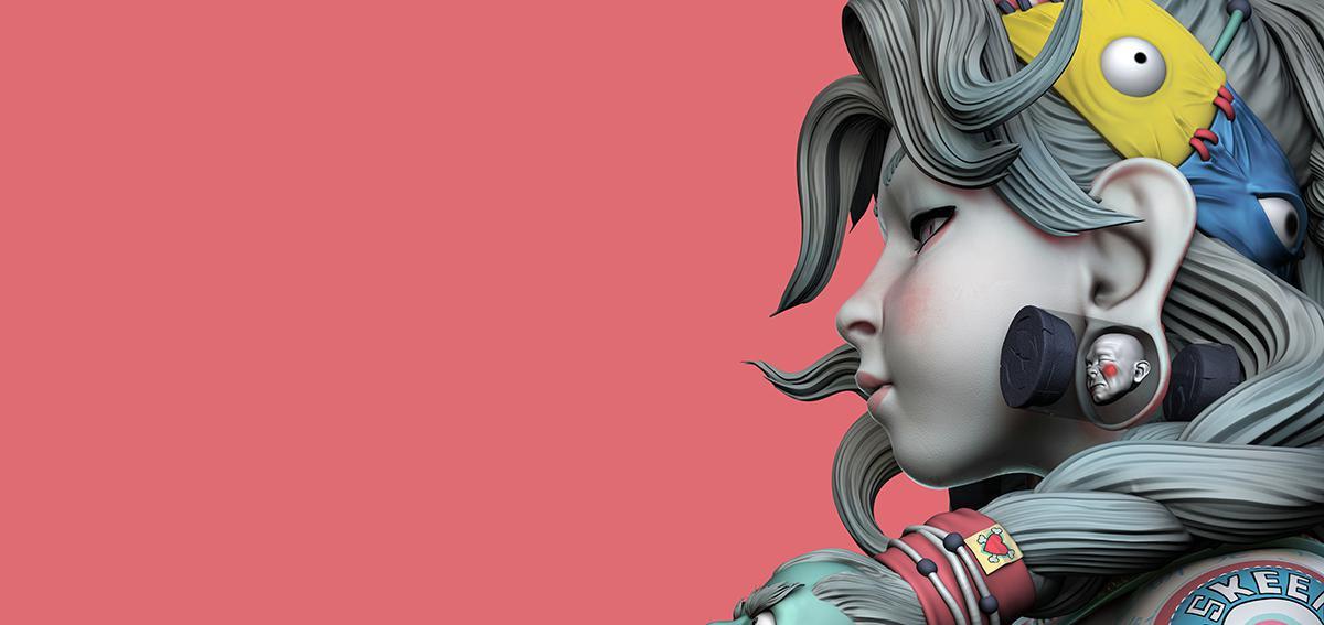 asian female character design 3d model