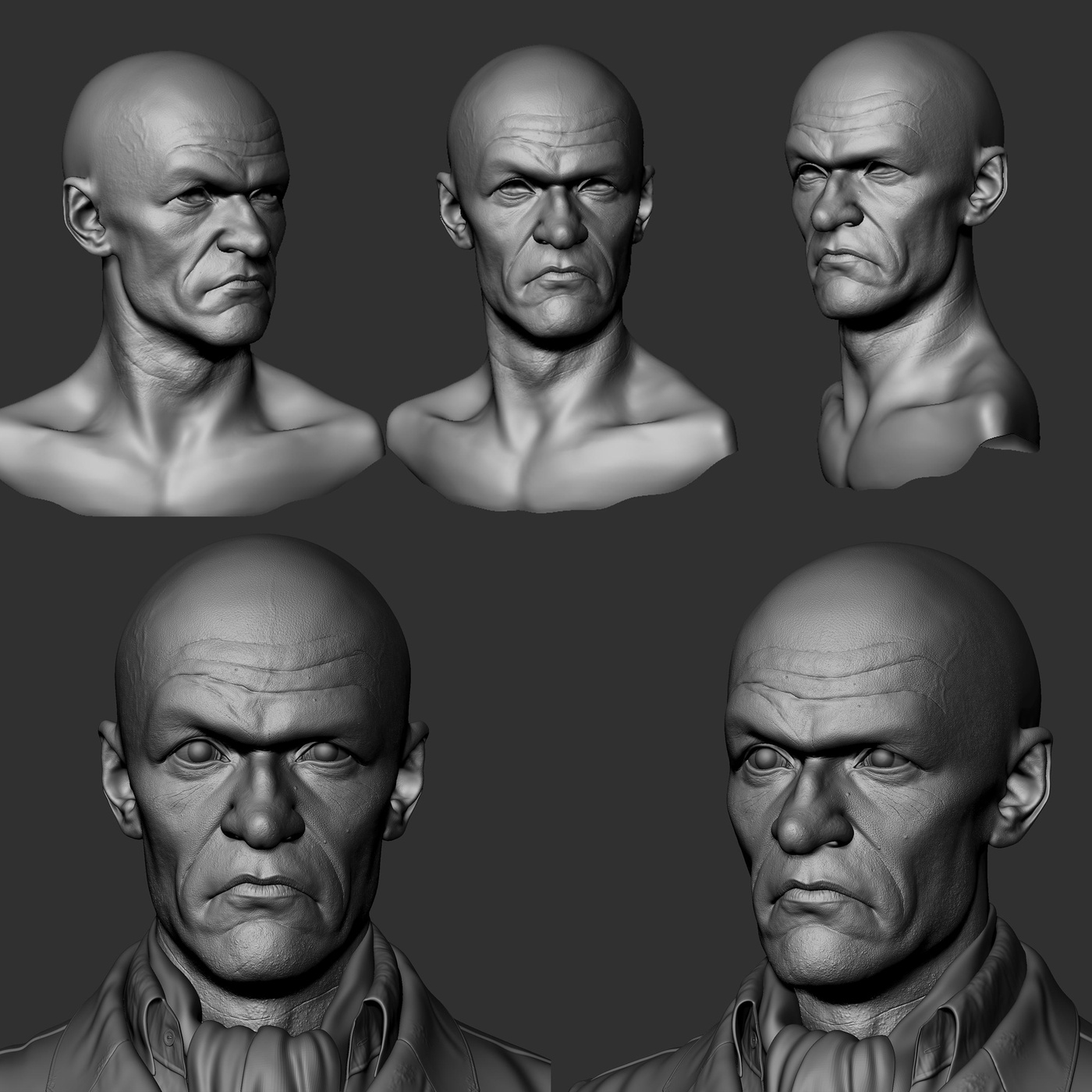 sculpting poses detail modelling render form male head
