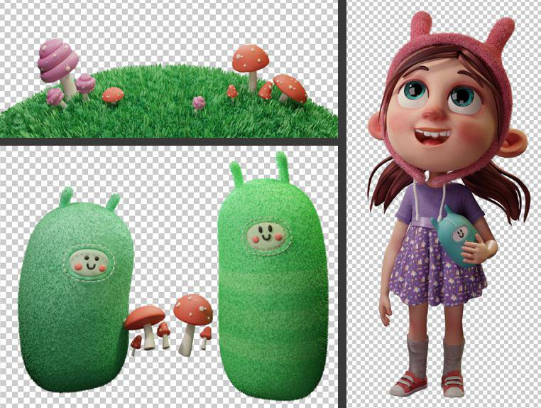 Giulia Marchetti childhood 3d cartoon postproduction