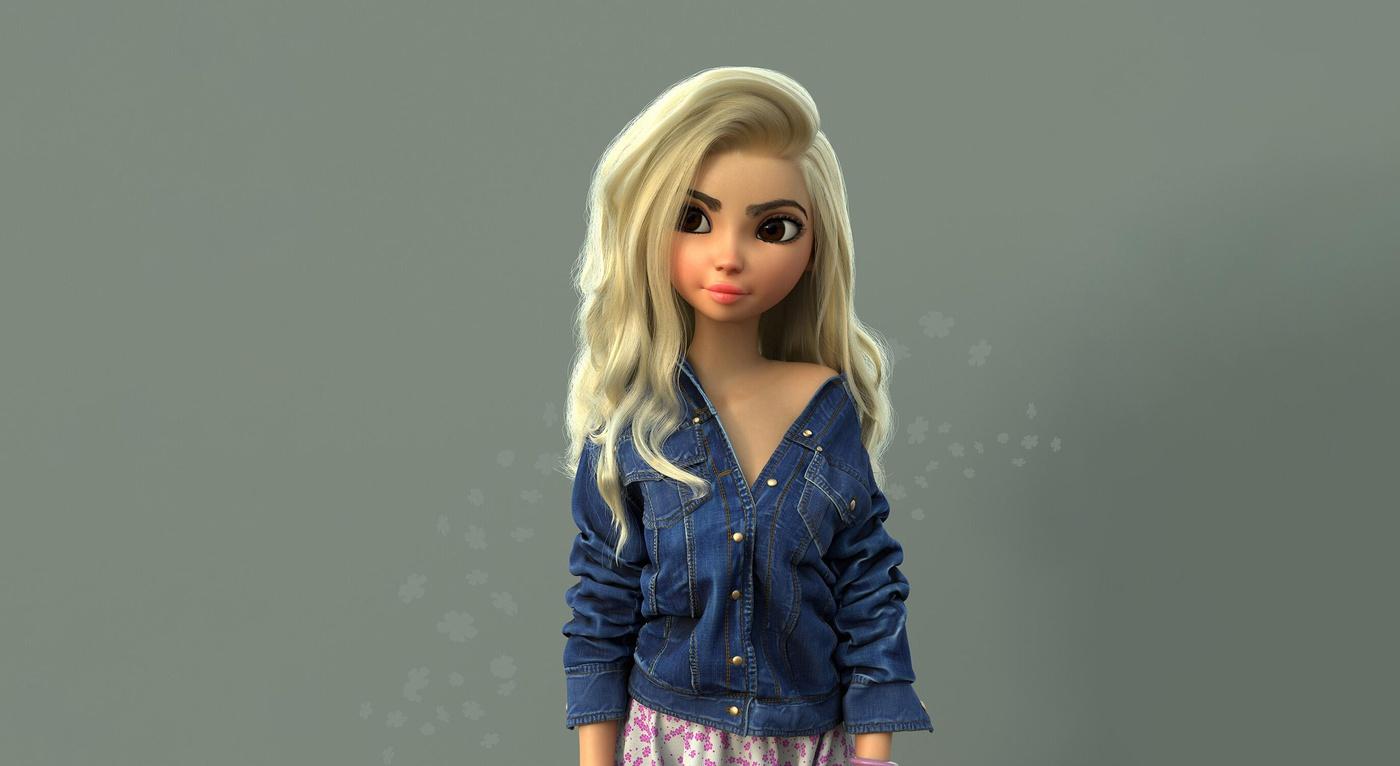denim jacket blonde female character design model render sculpt