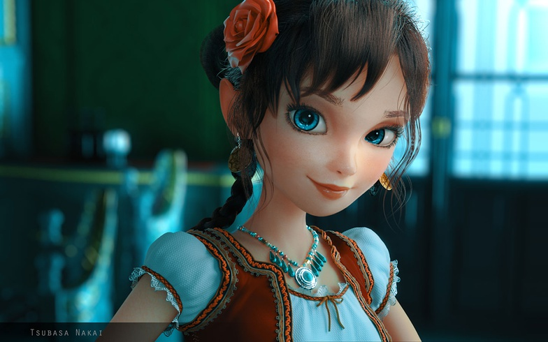 girl, blue eyes, character design, substance painter, character