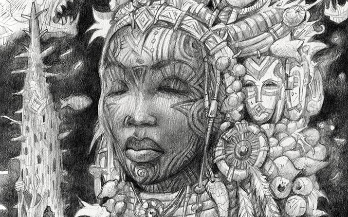 african woman tribal clothing sketch