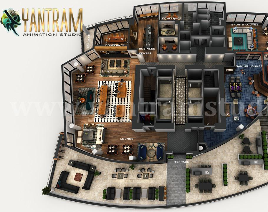 Professional 3D combined (Commercial Office & Residential) Floor Plan Design by Architectural Design Studio, Dubai – UAEby Ruturaj Desai