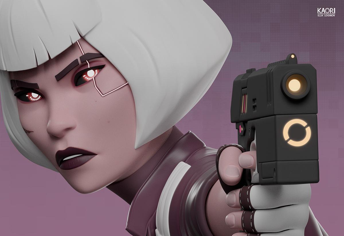 futuristic female character model