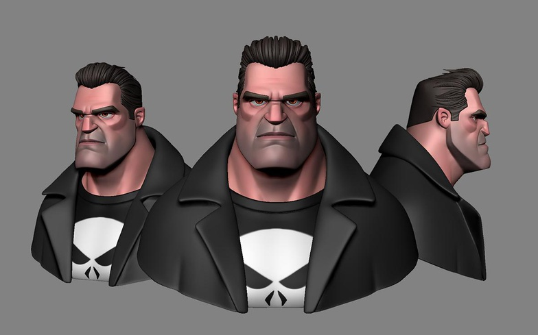 The Punisher DC Comics 3d cartoon art