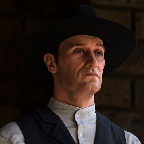 character design 3d model cowboy hat man