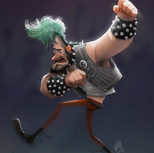 punk rock male character design