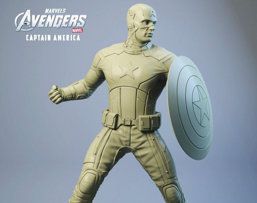 Captain America - 3d Statueby Rafael Mustaine