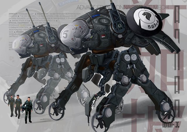 robot, bug, recon mech, sketch, digital, painting