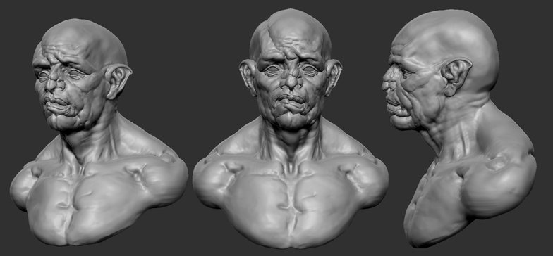 3d character side profile model