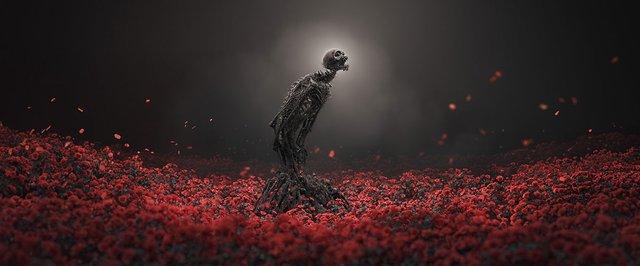 skeleton in roses