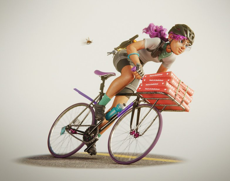bicycle delivery girl cool