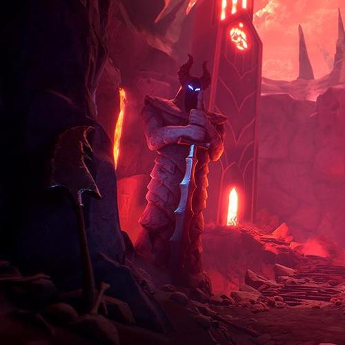 stone knights gaurding lava cave
