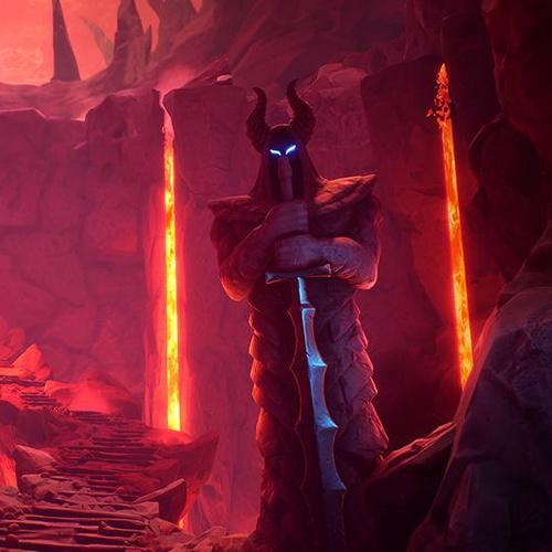 stone knights guarding lava cave