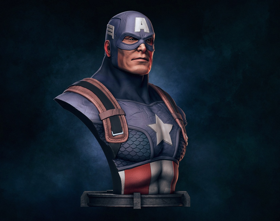 Captain America Bust (Fanart)by Renê Goes