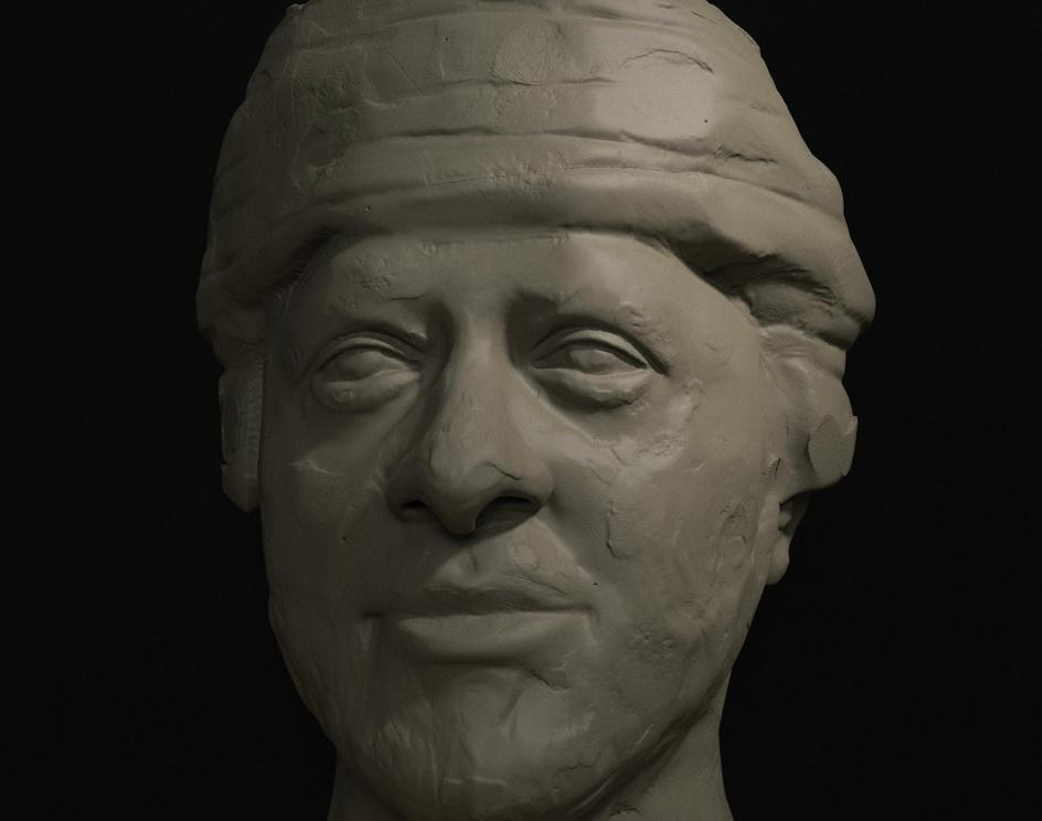 Sultan Haitham Bin Tariq clay sculptureby Ghaith Alsiyabi