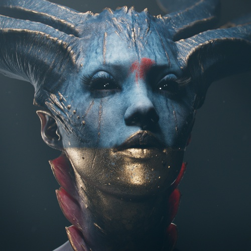 scary horned character design 3d model