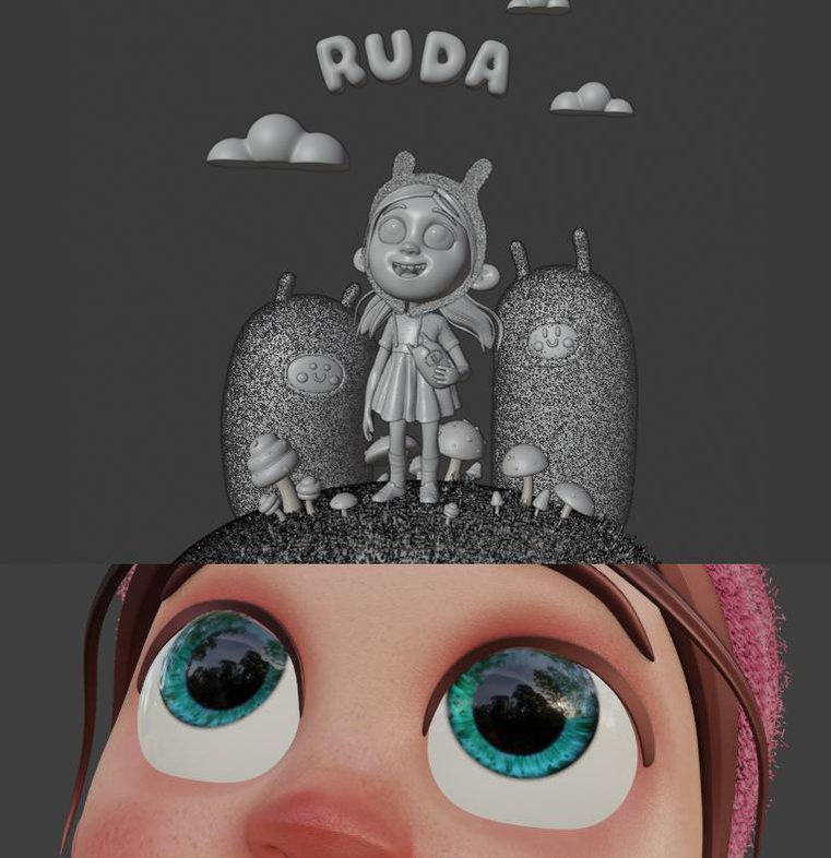Giulia Marchetti childhood 3d cartoon rendering Blender