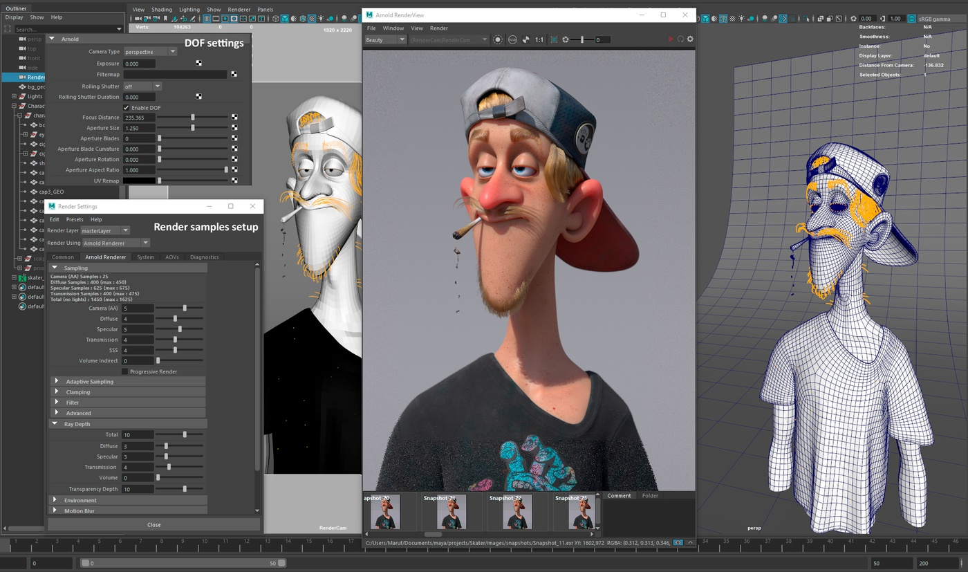 arnold 3d model rendering post-processing