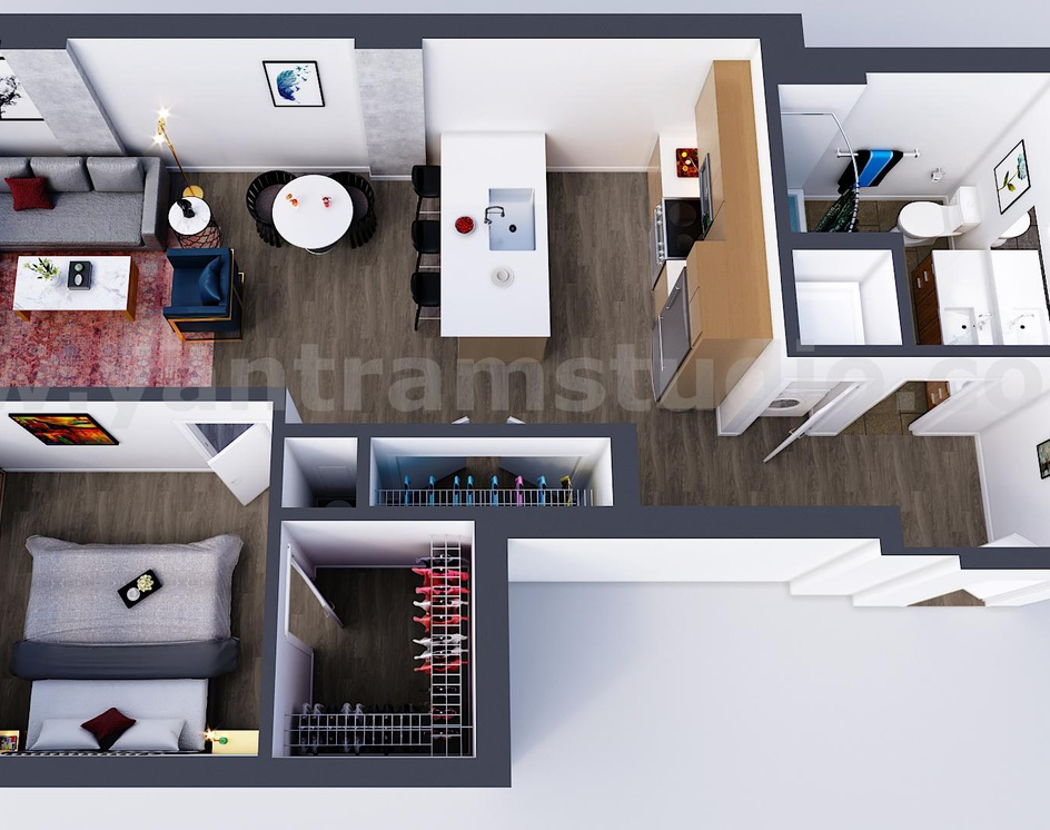 Best 3d floor plan by Yantram 3d Virtual Floor Plan designer, Oak Hill  – West Virginiaby Ruturaj Desai
