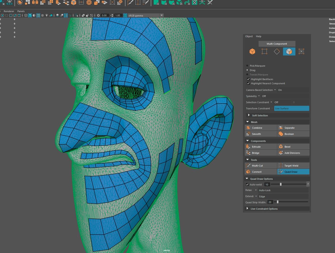 qaud rool retopology draw tool modeling