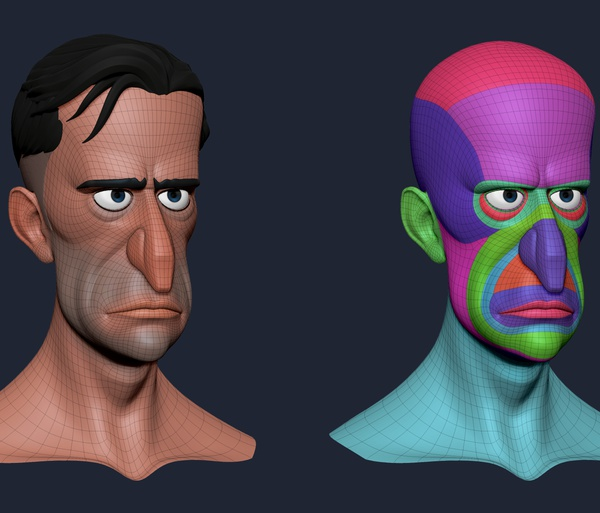 retopology 3d model simple maya face and body wireframe