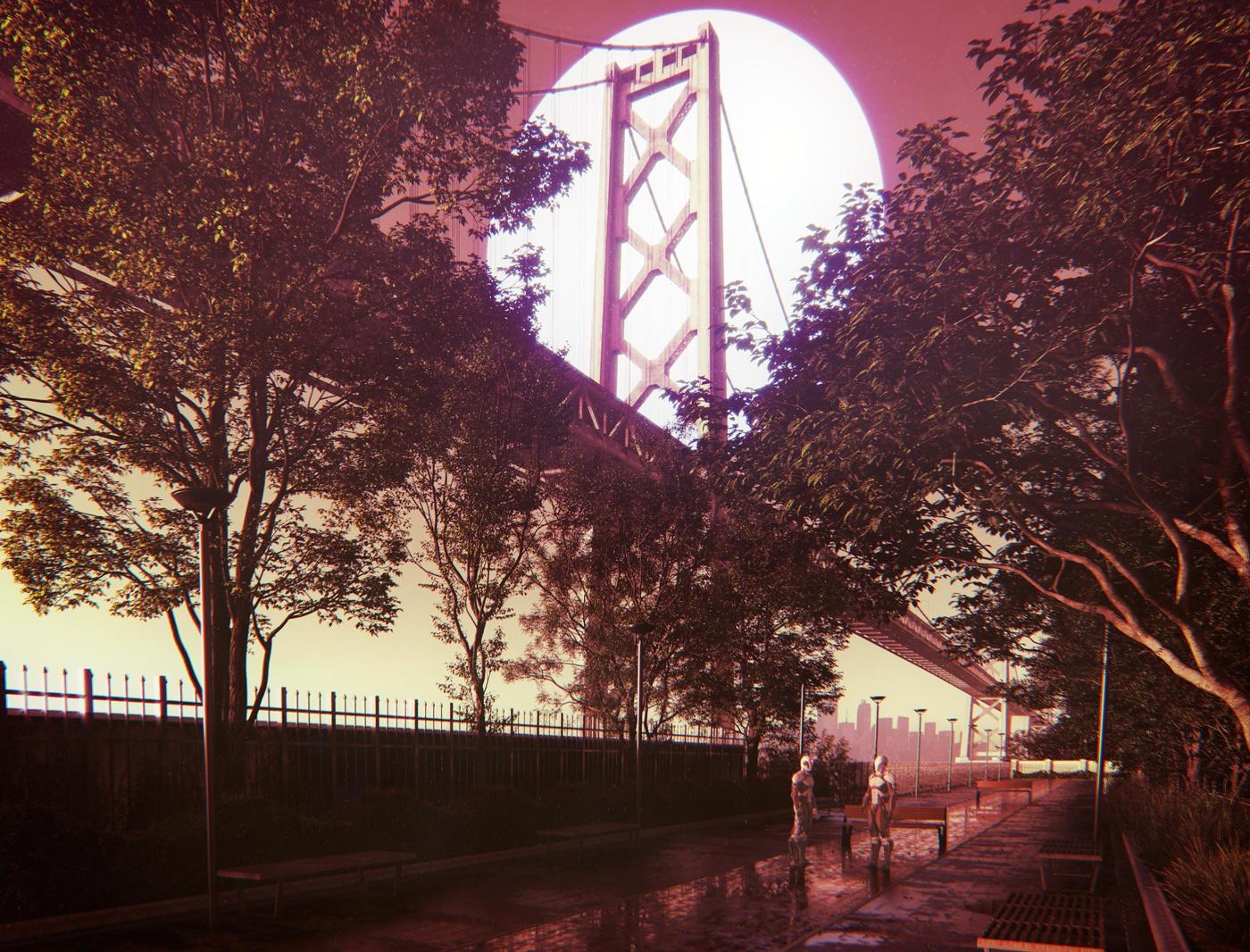 revealing lighting bridge trees nature scenery