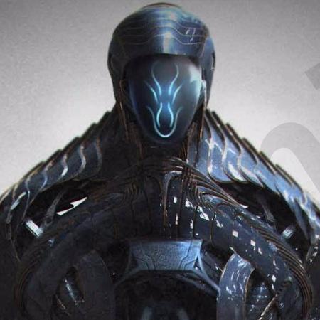 robot alien close up 3d concept design