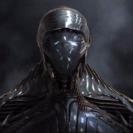 robot alien close up 3d model render
