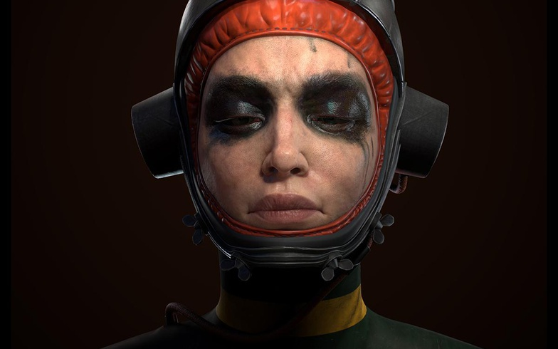 female character 3d model punk soldier
