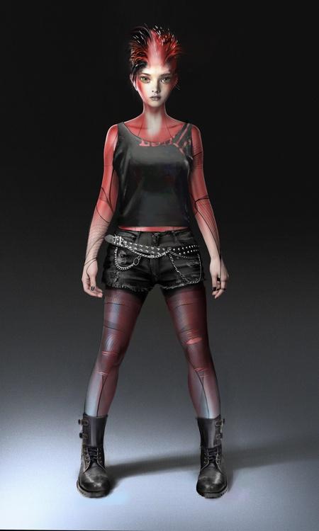 female character futuristic cyberpunk model 3d design