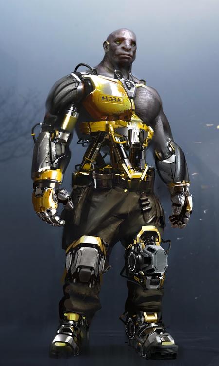 male character futuristic cyberpunk model 3d design
