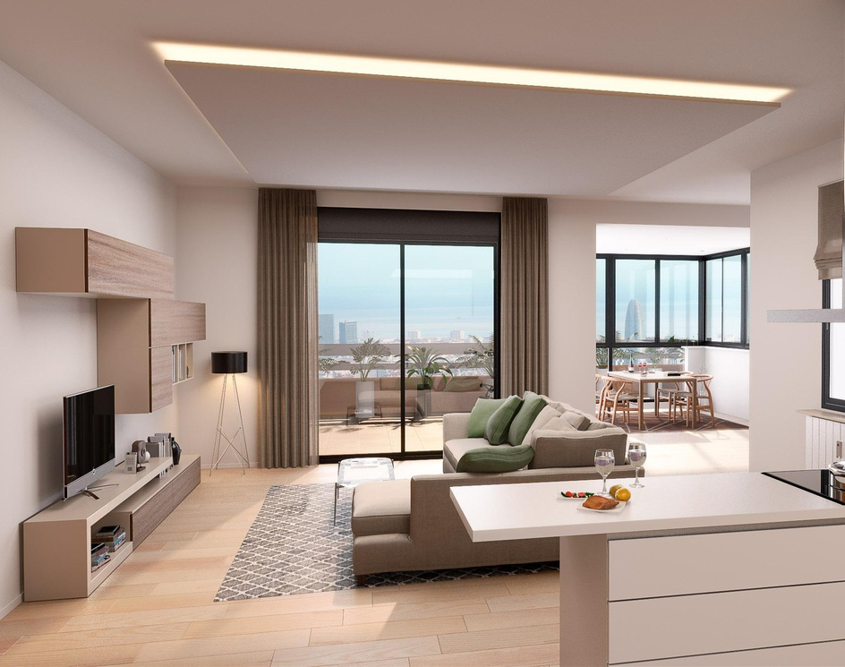 Living room of renovated apartment in Barcelonaby rogervilac