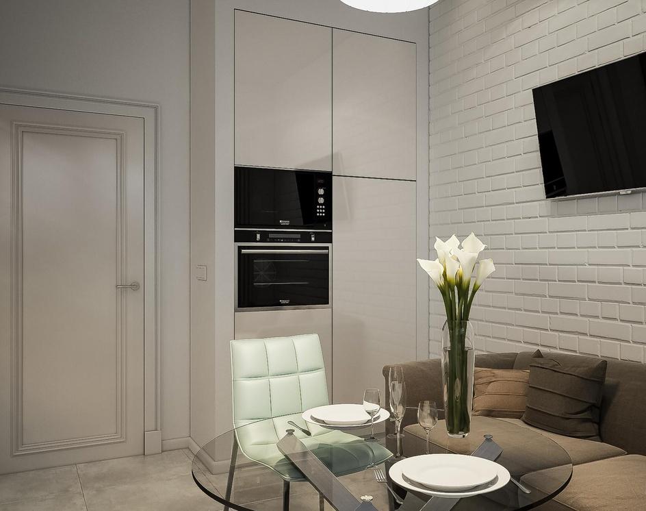 Interior of a light small kitchenby Archviz.Studio