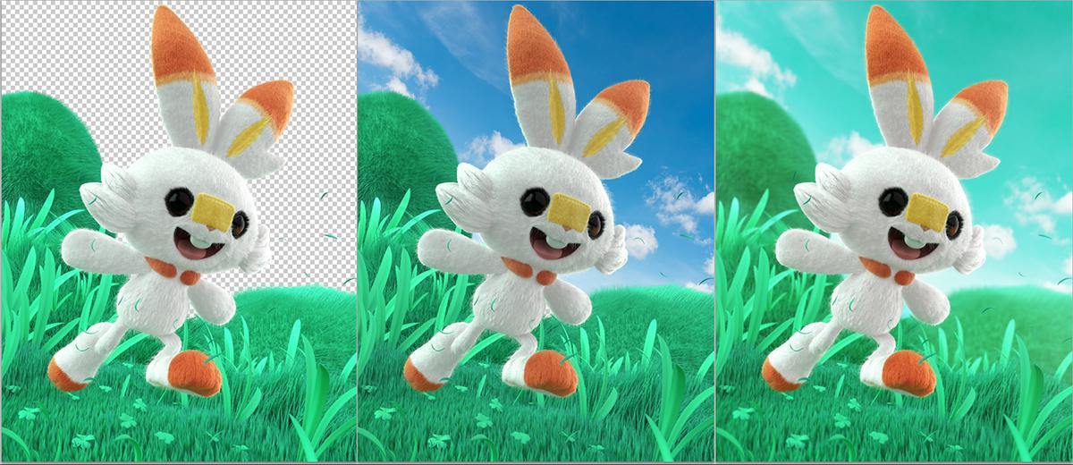 scorbunny pokemon 3d model rendering