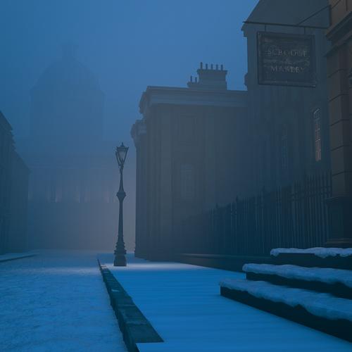 snow, scrooge, christmas carol, scene, digital painting