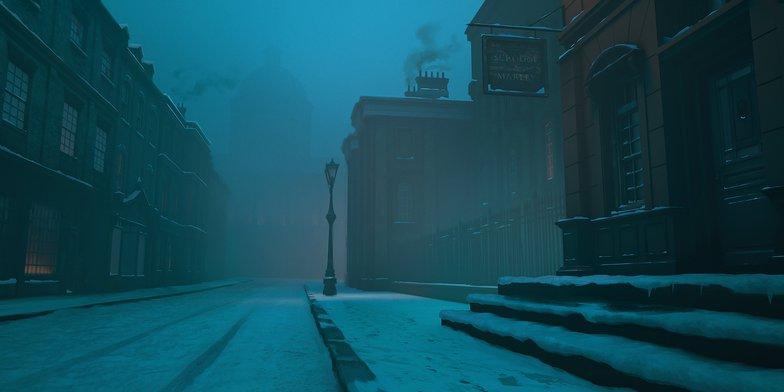 snow, scene, christmas, christmas carol, digital painting, scrooge
