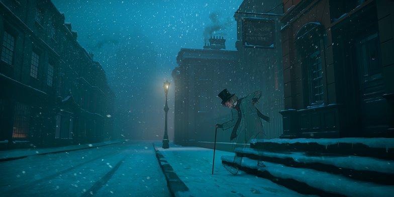 scrooge, digital painting, snow, a christmas carol
