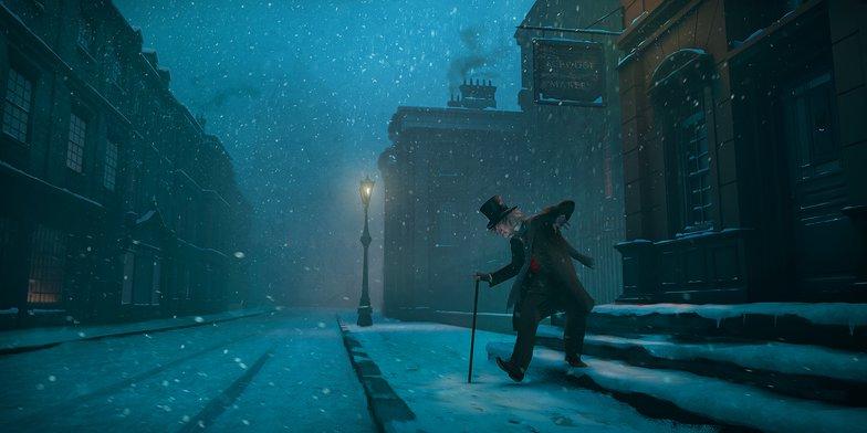 scrooge, snow, scene, digital painting, christmas carol