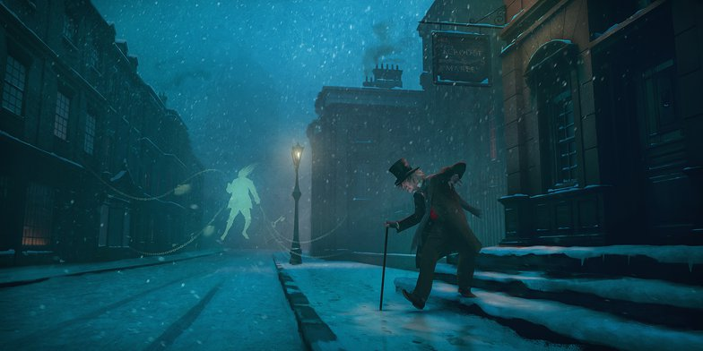 scrooge, christmas, snow, digital painting, christmas carol