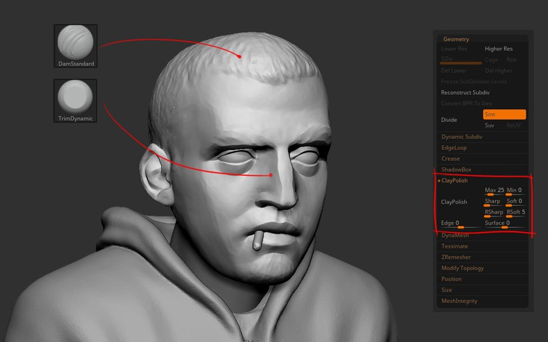 nose lips zbrush sculpt clay modelling male model