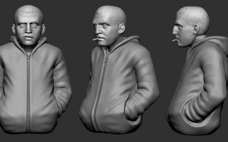 long jacket male model sculpt zbrush basic colours