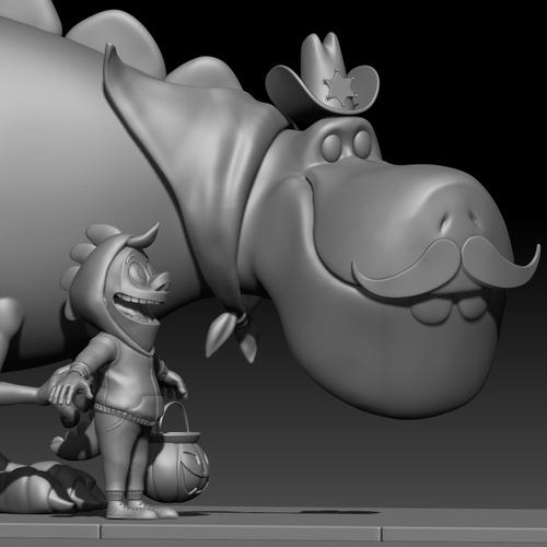 model kid dinosaur sculpting clothing detailing block imagery 3d design making