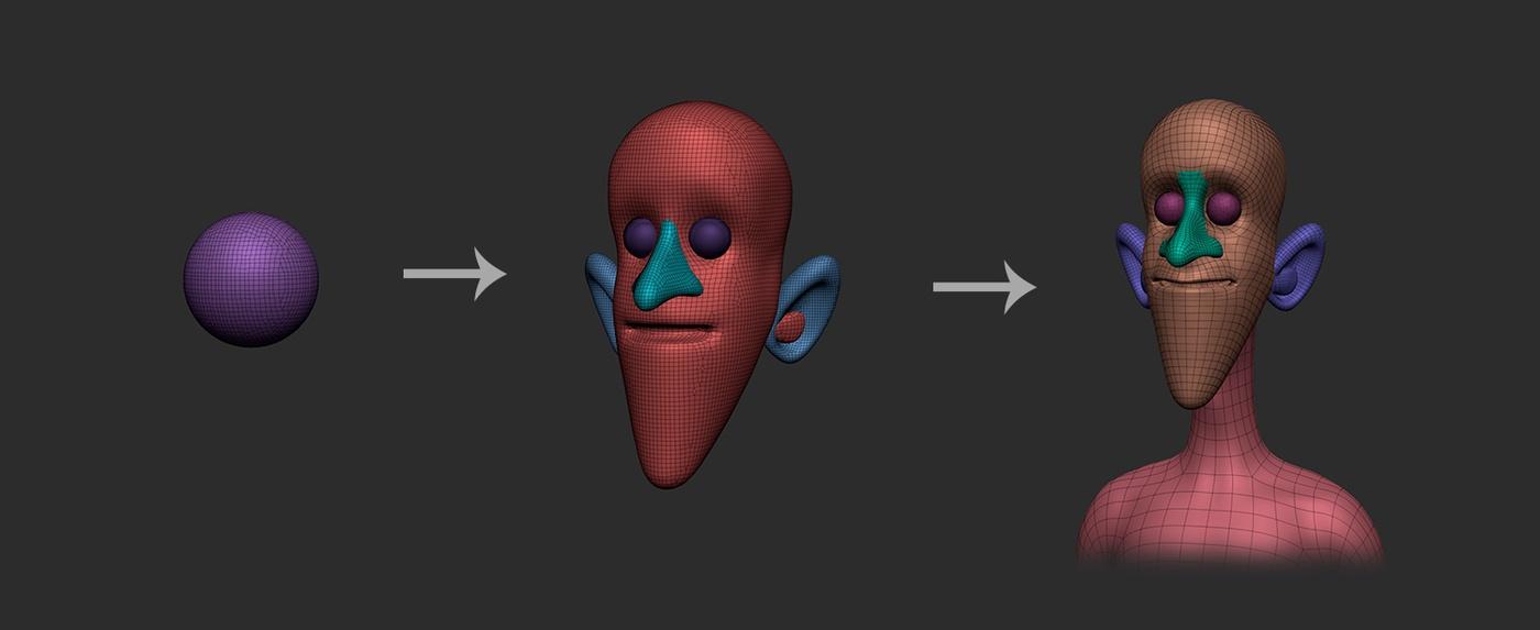 sculpting 3d modelling head shapes merging