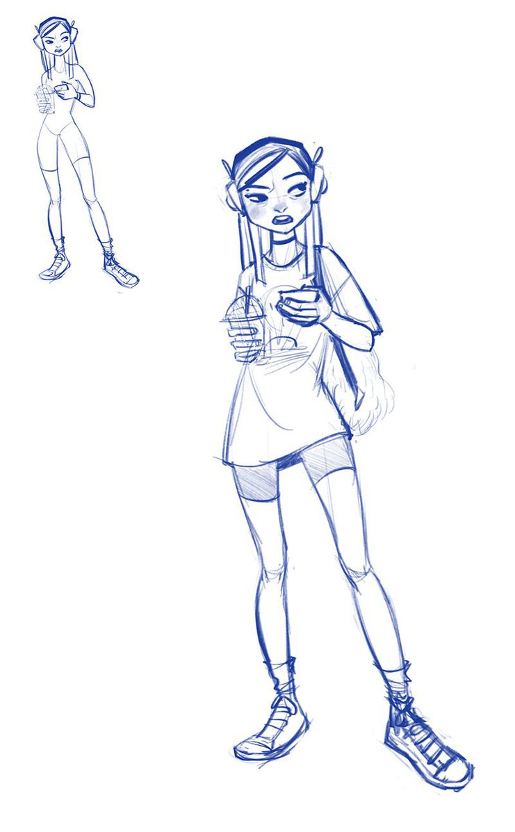 compelling girl character rough drawing