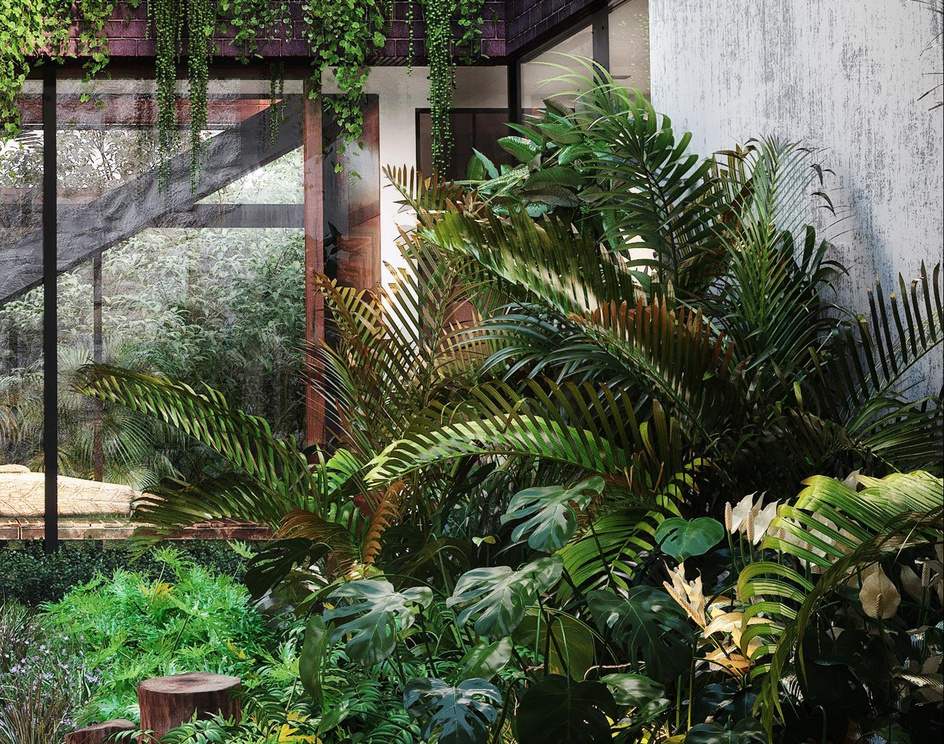 courtyard.lots of greenery and relaxing Buddhaby ANURADHA PATEL